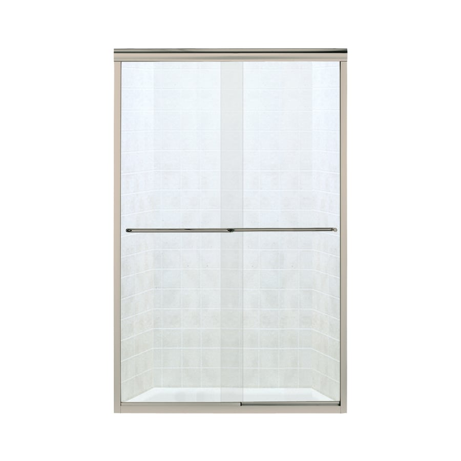 Sterling Finesse 44-in to 45.5-in W x 65.5-in H Brushed Nickel Sliding Shower Door