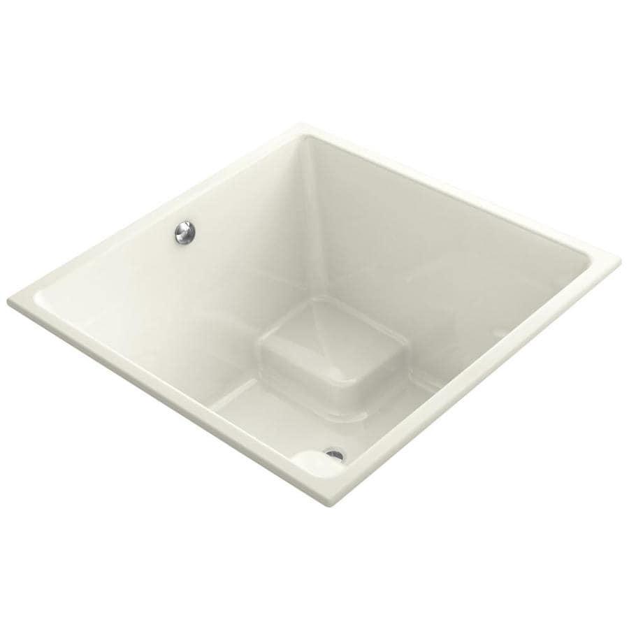 KOHLER Underscore Biscuit Acrylic Rectangular Drop-in Bathtub with Reversible Drain (Common: 48-in x 48-in; Actual: 34-in x 48-in x 48-in)