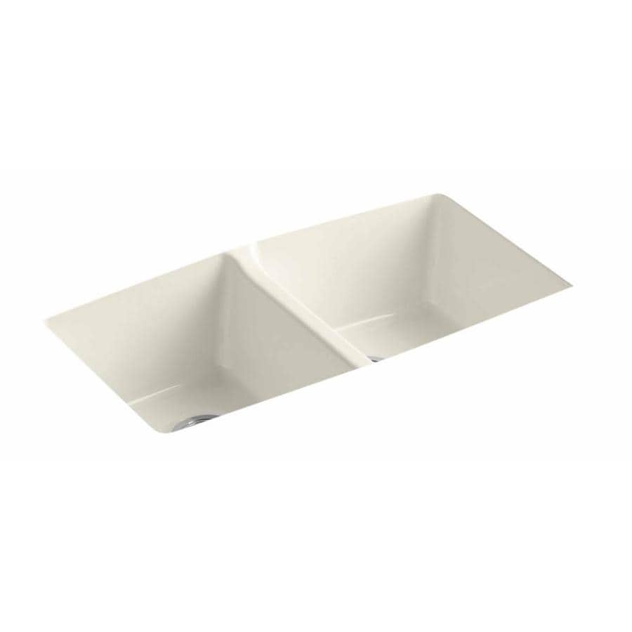 KOHLER 22-in x 33-in Biscuit Double-Basin Cast Iron Undermount (Customizable)-Hole Residential Kitchen Sink