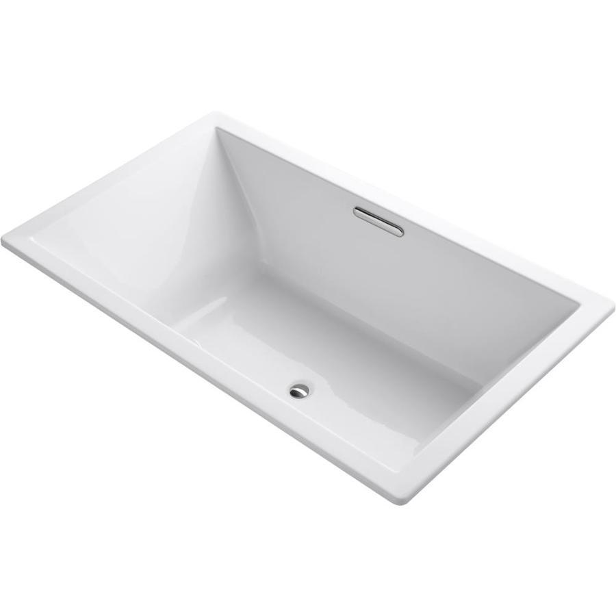 KOHLER Underscore White Acrylic Rectangular Drop-in Bathtub with Reversible Drain (Common: 42-in x 72-in; Actual: 23-in x 42-in x 72-in)