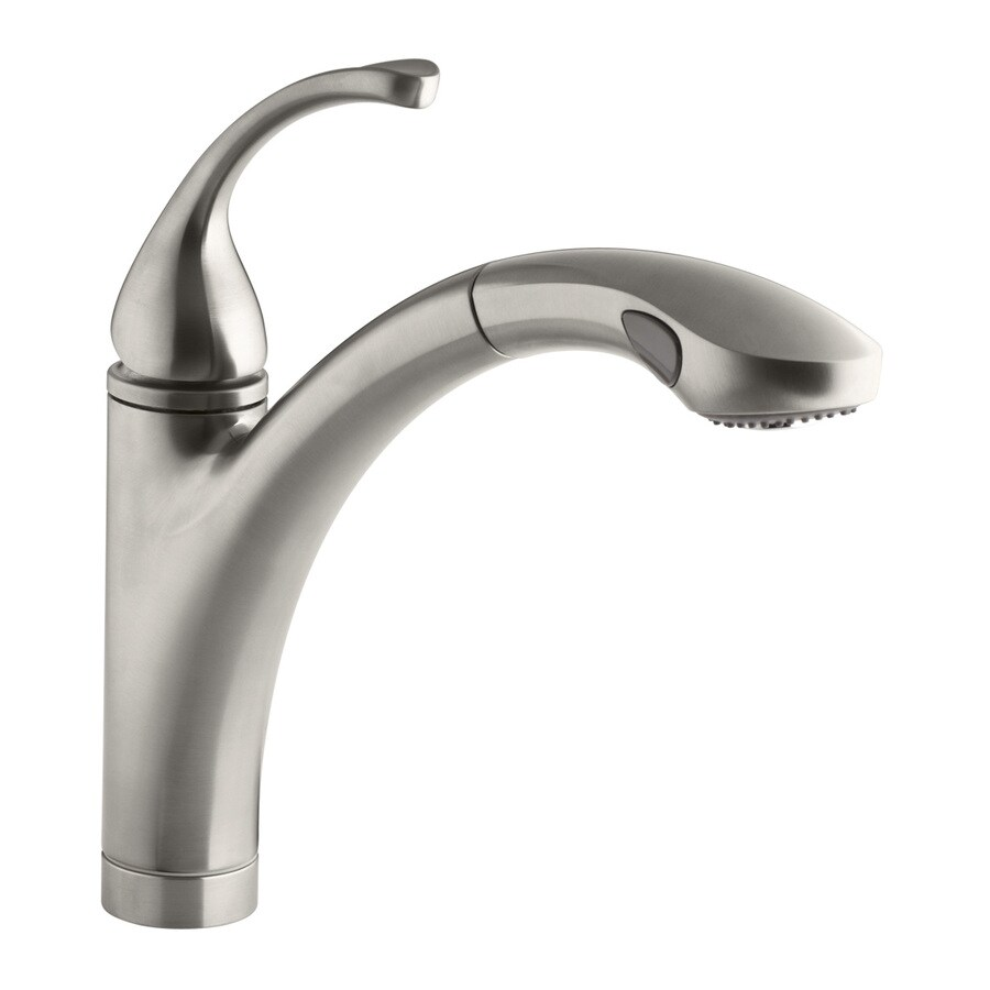 KOHLER Forte Vibrant Stainless 1-Handle Pull-Out Kitchen Faucet