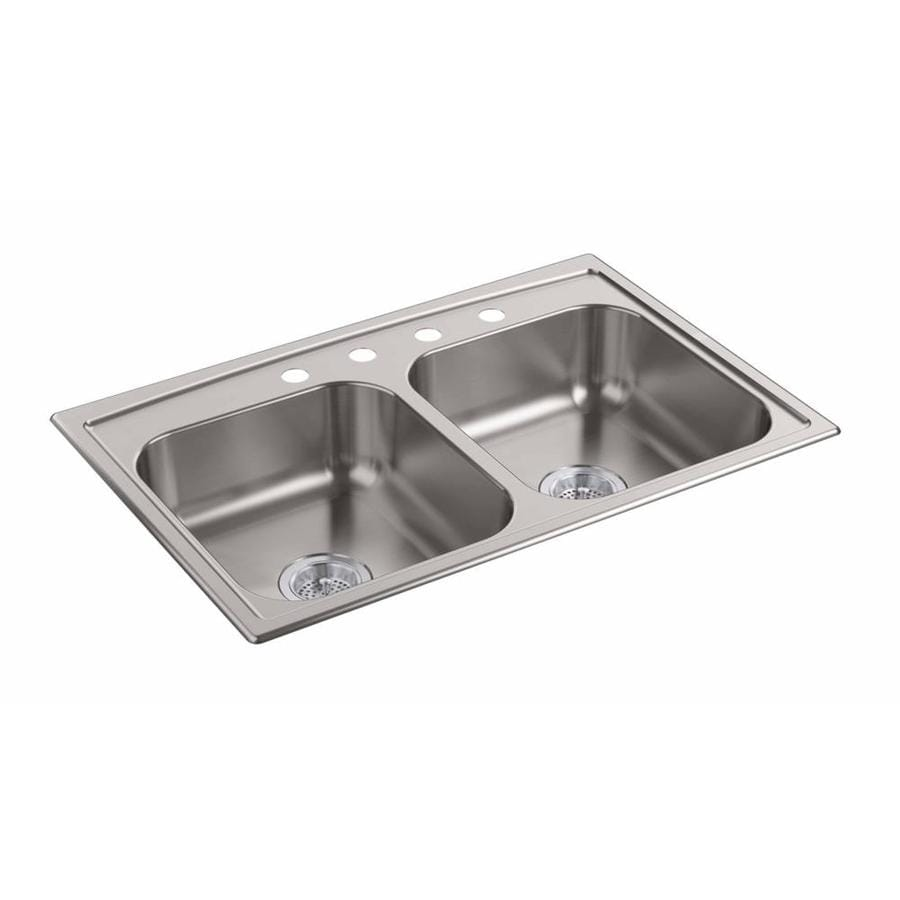 KOHLER 22-in x 33-in Stainless Steel Double-Basin Stainless Steel Undermount 4-Hole Residential Kitchen Sink
