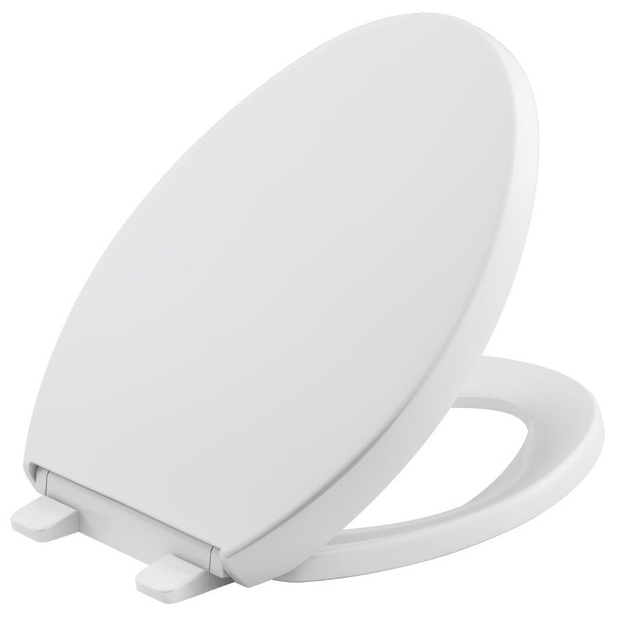 KOHLER Grip-Tight Reveal White Plastic Elongated Slow Close Toilet Seat