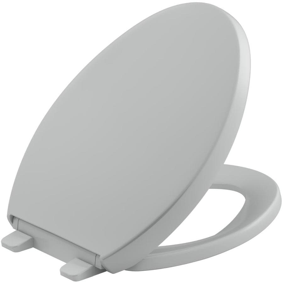 KOHLER Grip-Tight Reveal Ice Grey Plastic Elongated Slow-Close Toilet Seat