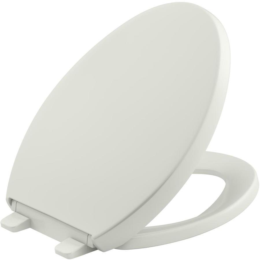 KOHLER Grip-Tight Reveal Dune Plastic Elongated Slow-Close Toilet Seat