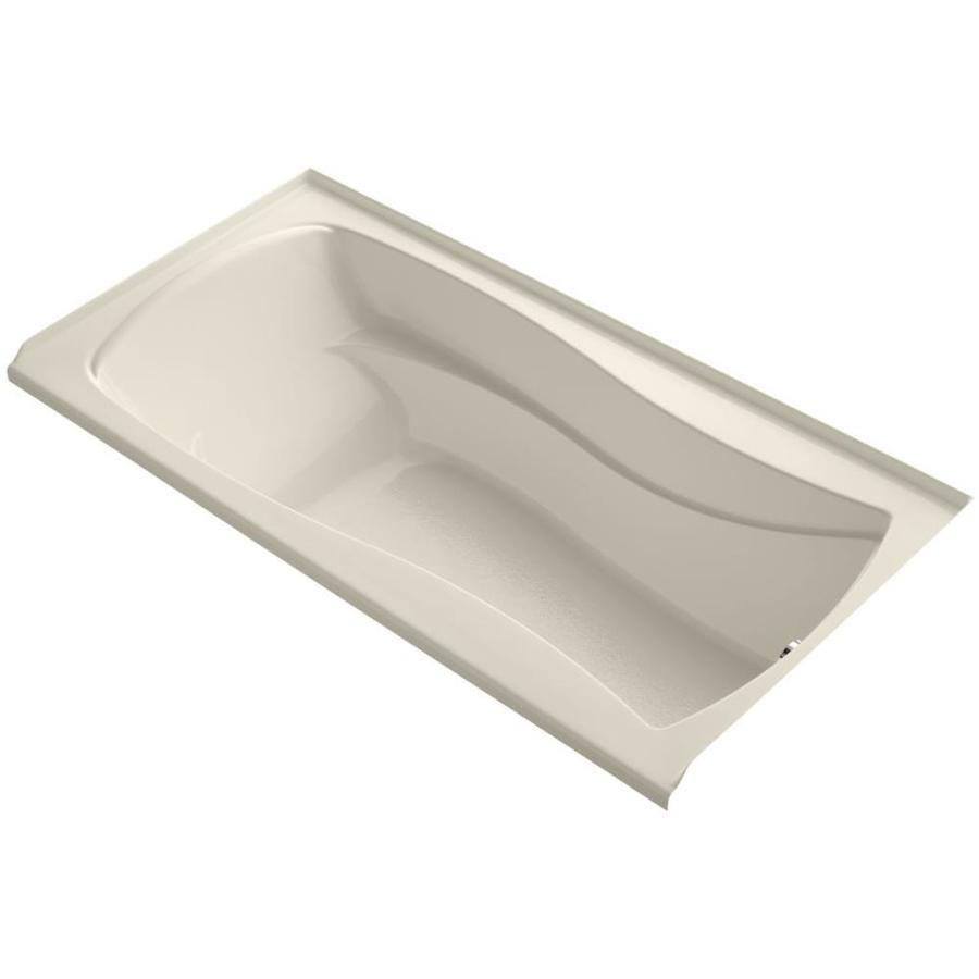 KOHLER Mariposa Almond Acrylic Hourglass In Rectangle Alcove Bathtub with Right-Hand Drain (Common: 36-in x 72-in; Actual: 20-in x 36-in x 72-in)