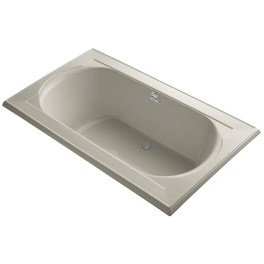 KOHLER Memoirs Sandbar Acrylic Oval In Rectangle Drop-in Bathtub with Reversible Drain (Common: 42-in x 72-in; Actual: 22-in x 42-in x 72-in)