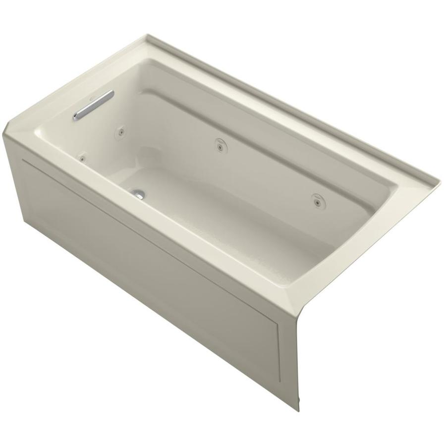 KOHLER Archer Almond Acrylic Rectangular Alcove Whirlpool Tub (Common: 32-in x 60-in; Actual: 21.25-in x 32-in)