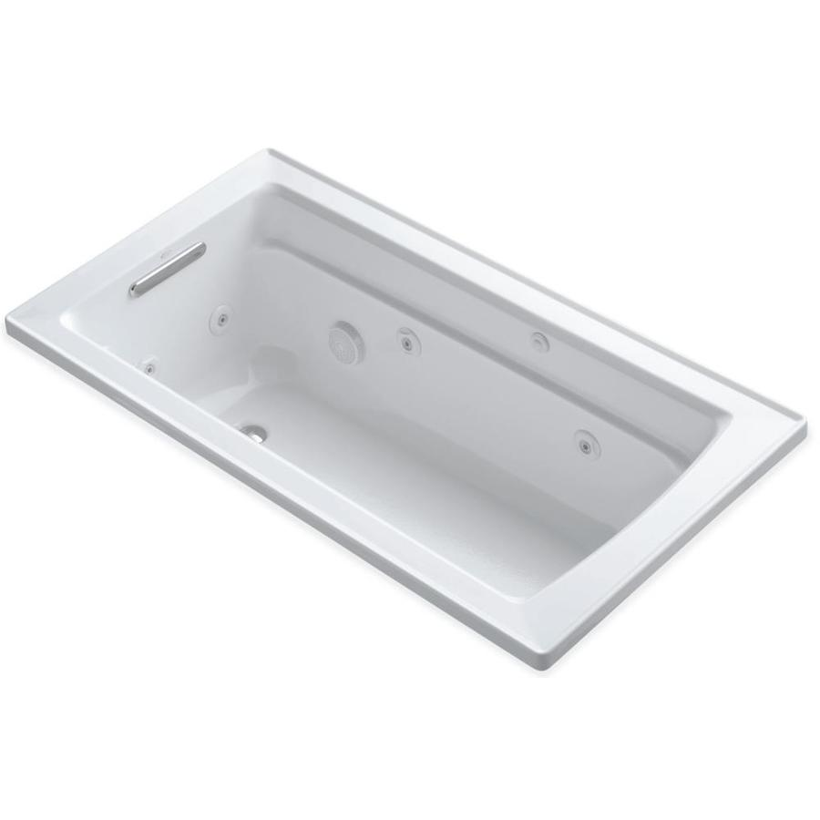 KOHLER Archer White Acrylic Rectangular Drop-in Whirlpool Tub (Common: 32-in x 60-in; Actual: 19-in x 32-in)