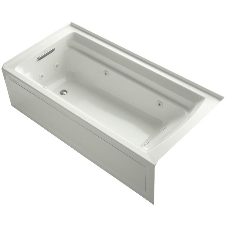 KOHLER Archer Dune Acrylic Rectangular Alcove Whirlpool Tub (Common: 36-in x 72-in; Actual: 20.25-in x 36-in)