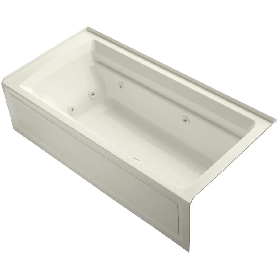 KOHLER Archer Biscuit Acrylic Rectangular Alcove Whirlpool Tub (Common: 36-in x 72-in; Actual: 20.25-in x 36-in)