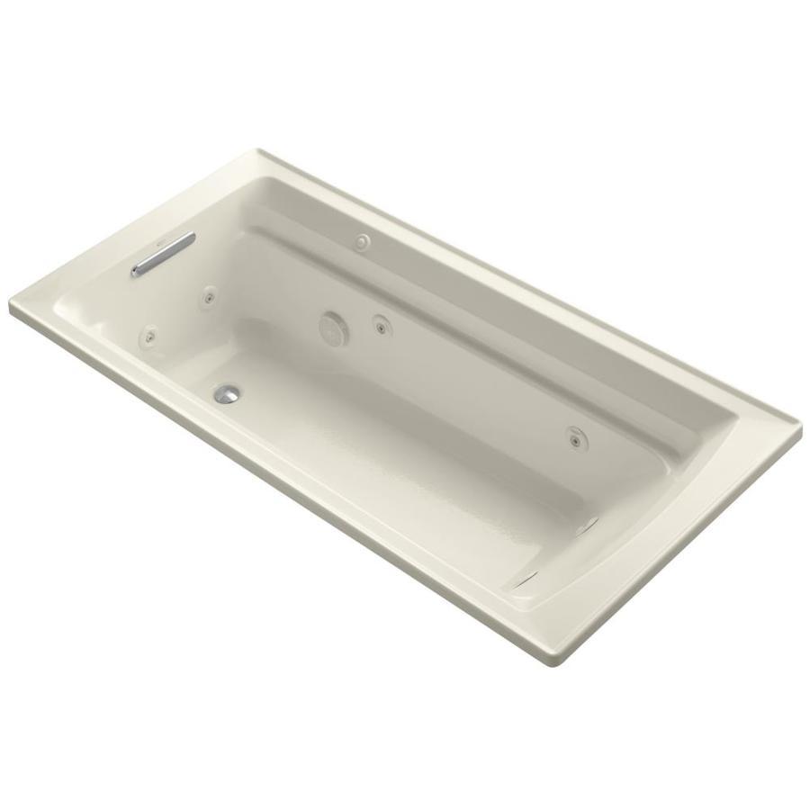 KOHLER Archer Almond Acrylic Rectangular Drop-in Whirlpool Tub (Common: 36-in x 72-in; Actual: 19-in x 36-in)