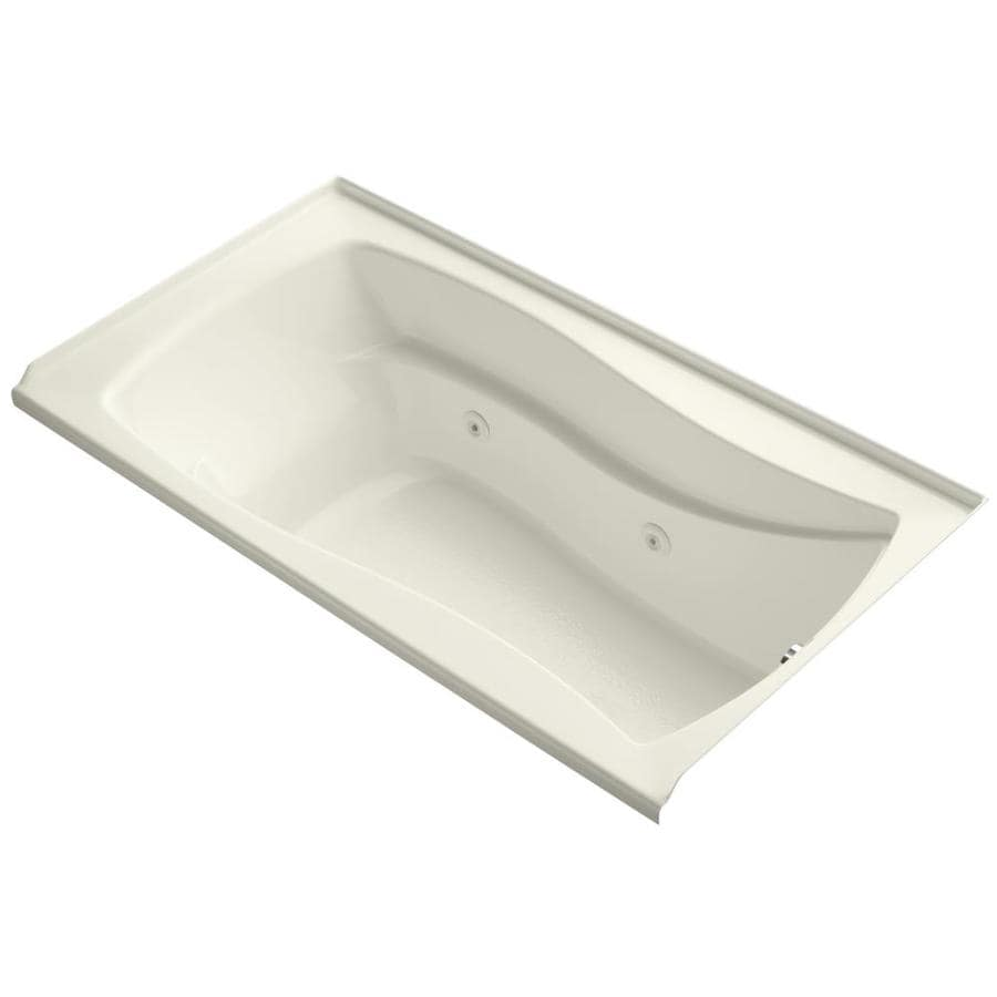 KOHLER Mariposa Biscuit Acrylic Hourglass In Rectangle Alcove Whirlpool Tub (Common: 36-in x 66-in; Actual: 21.25-in x 36-in)