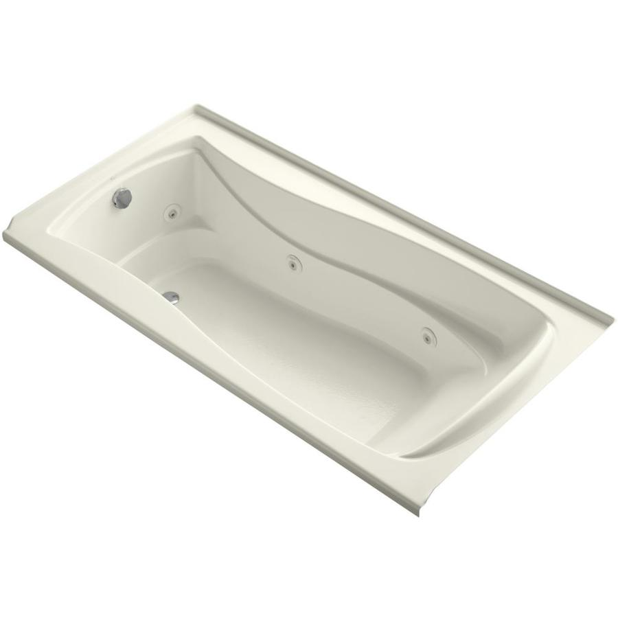 KOHLER Mariposa Biscuit Acrylic Hourglass In Rectangle Alcove Whirlpool Tub (Common: 36-in x 72-in; Actual: 21.25-in x 36-in)