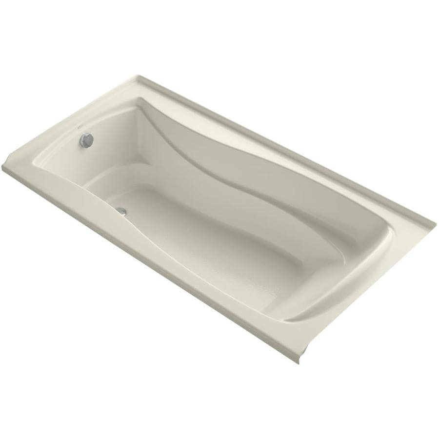 KOHLER Mariposa 72-in L x 36-in W x 20-in H Almond Acrylic Hourglass In Rectangle Alcove Air Bath