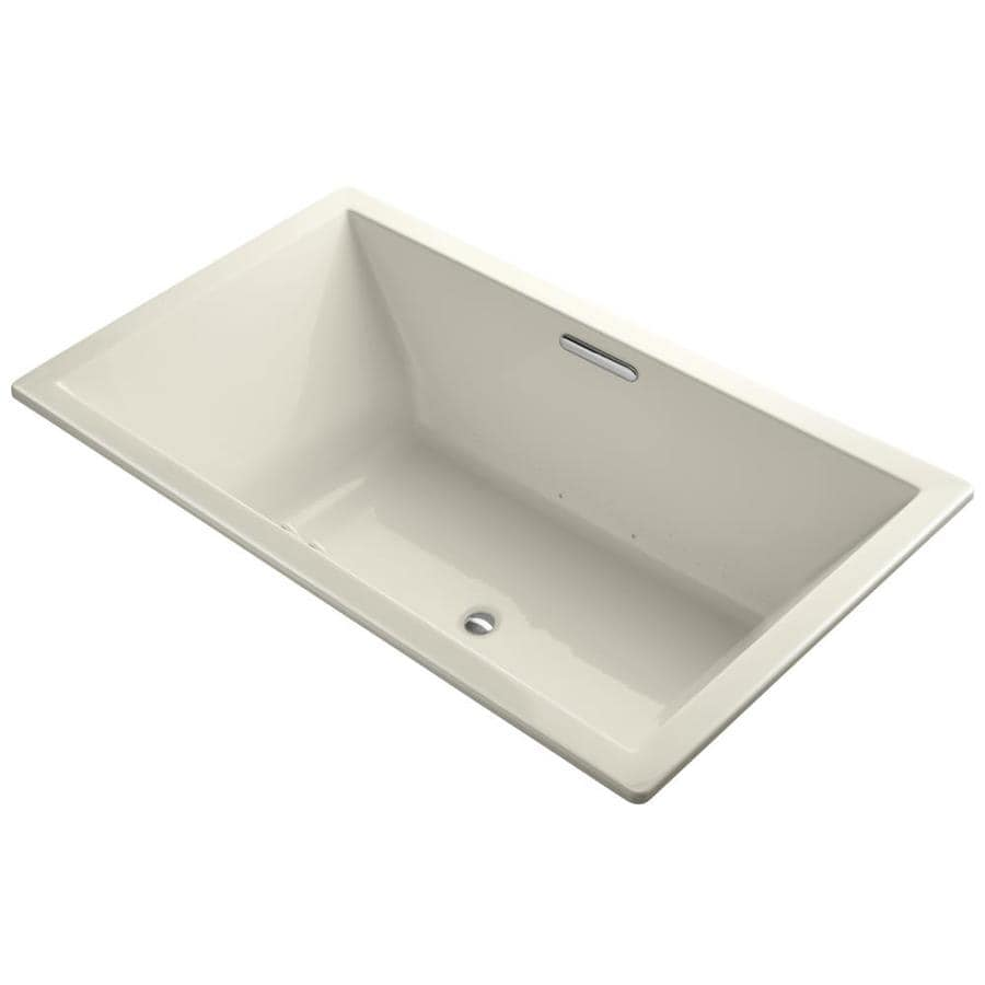 KOHLER Underscore 72-in L x 42-in W x 23-in H Almond Acrylic Rectangular Drop-in Air Bath