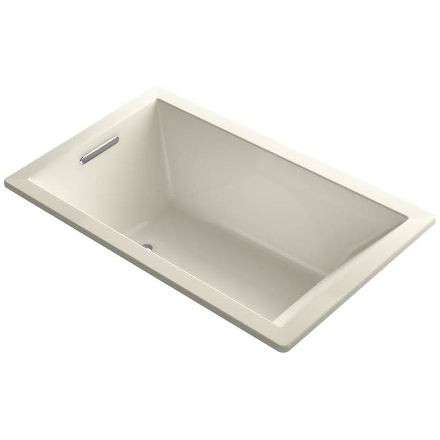 KOHLER Underscore 60-in L x 36-in W x 21-in H Almond Acrylic Rectangular Drop-in Air Bath
