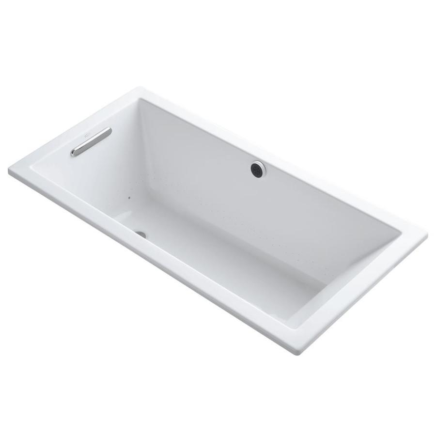KOHLER Underscore 60-in L x 30-in W x 19-in H White Acrylic Rectangular Drop-in Air Bath