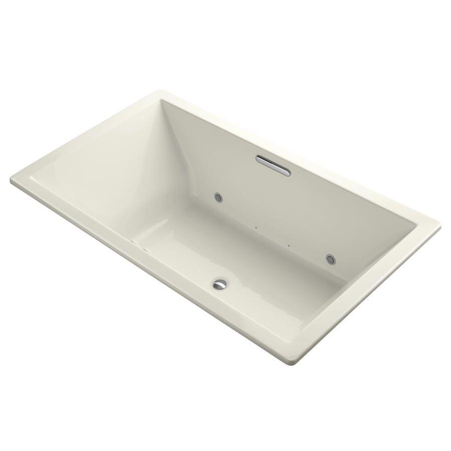 KOHLER Underscore 72-in L x 42-in W x 23-in H Biscuit Acrylic Rectangular Drop-in Air Bath