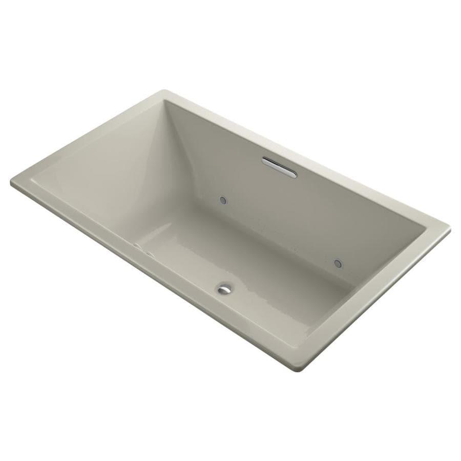 KOHLER Underscore 72-in L x 42-in W x 23-in H Sandbar Acrylic Rectangular Drop-in Air Bath