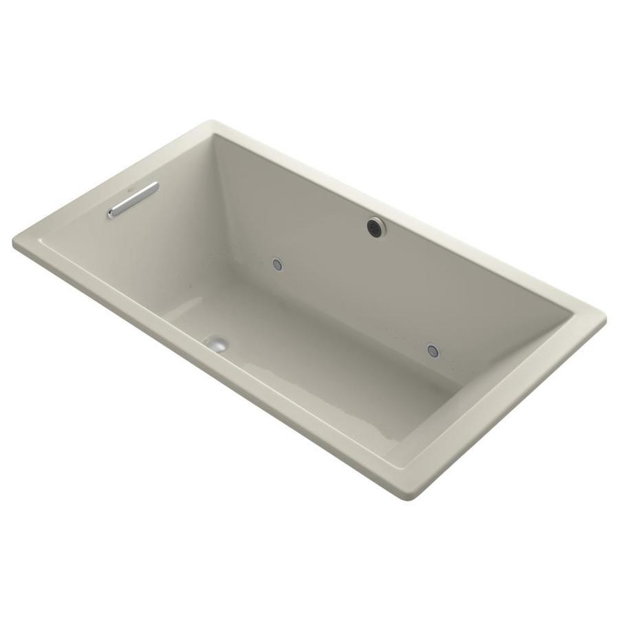 KOHLER Underscore 66-in L x 36-in W x 22-in H Sandbar Acrylic Rectangular Drop-in Air Bath