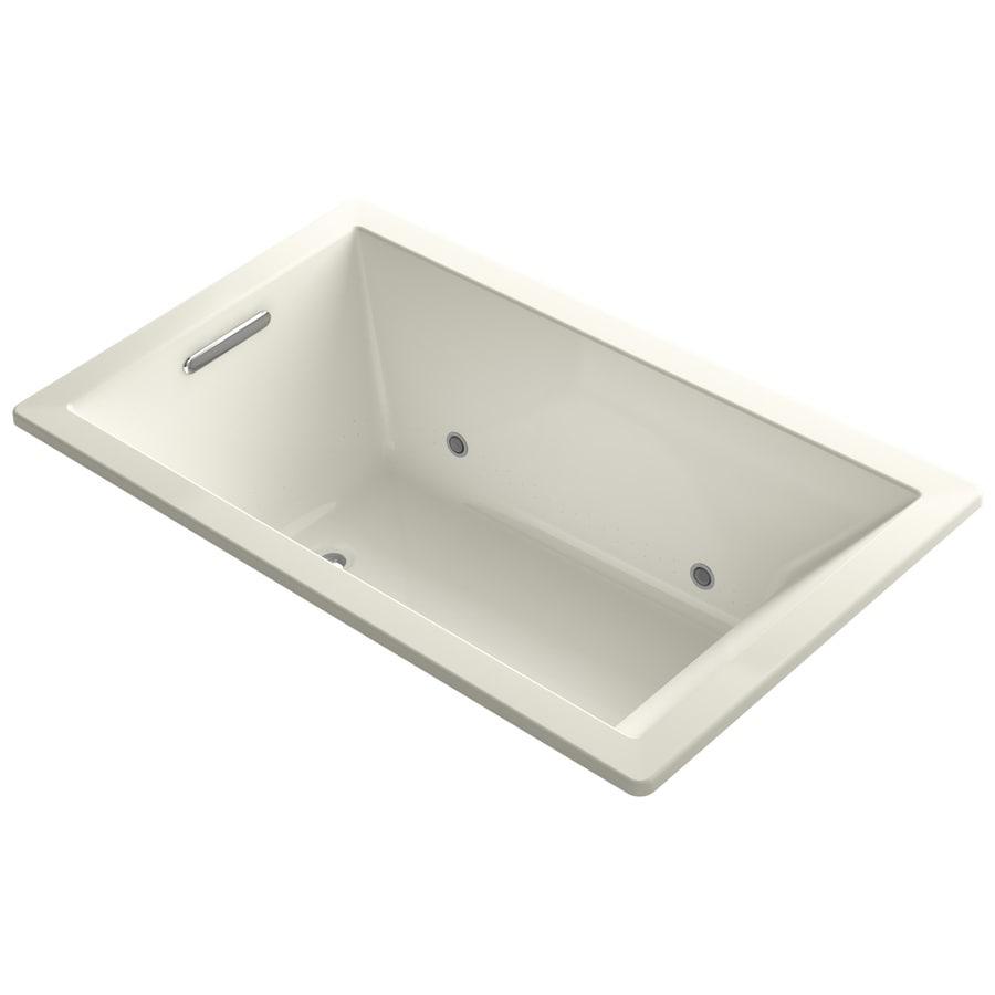 KOHLER Underscore 60-in L x 36-in W x 21-in H Biscuit Acrylic Rectangular Drop-in Air Bath