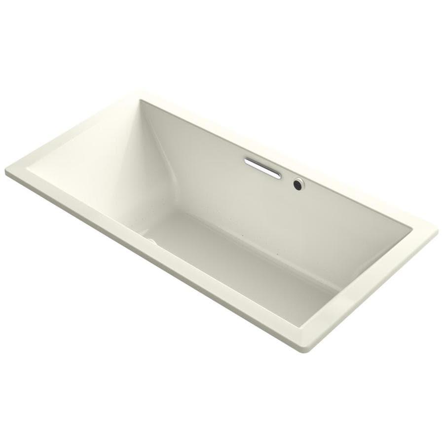 KOHLER Underscore 72-in L x 36-in W x 23-in H Biscuit Acrylic Rectangular Drop-in Air Bath