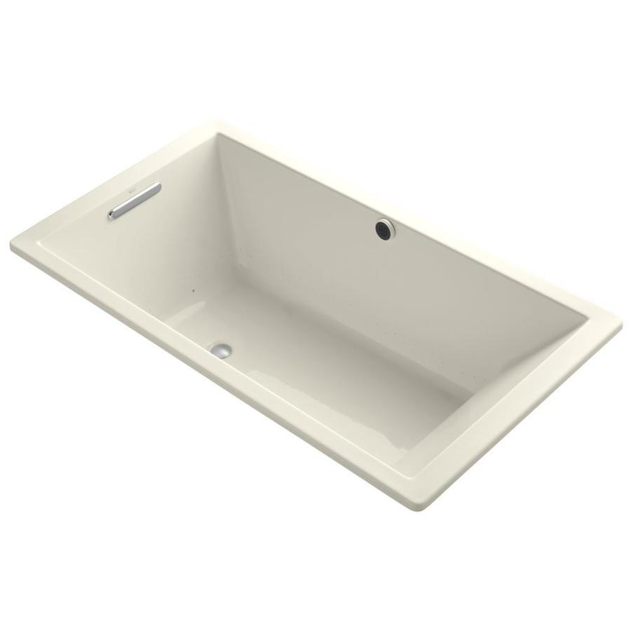 KOHLER Underscore 66-in L x 36-in W x 22-in H Almond Acrylic Rectangular Drop-in Air Bath