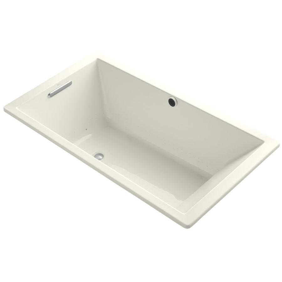KOHLER Underscore 66-in L x 36-in W x 22-in H Biscuit Acrylic Rectangular Drop-in Air Bath