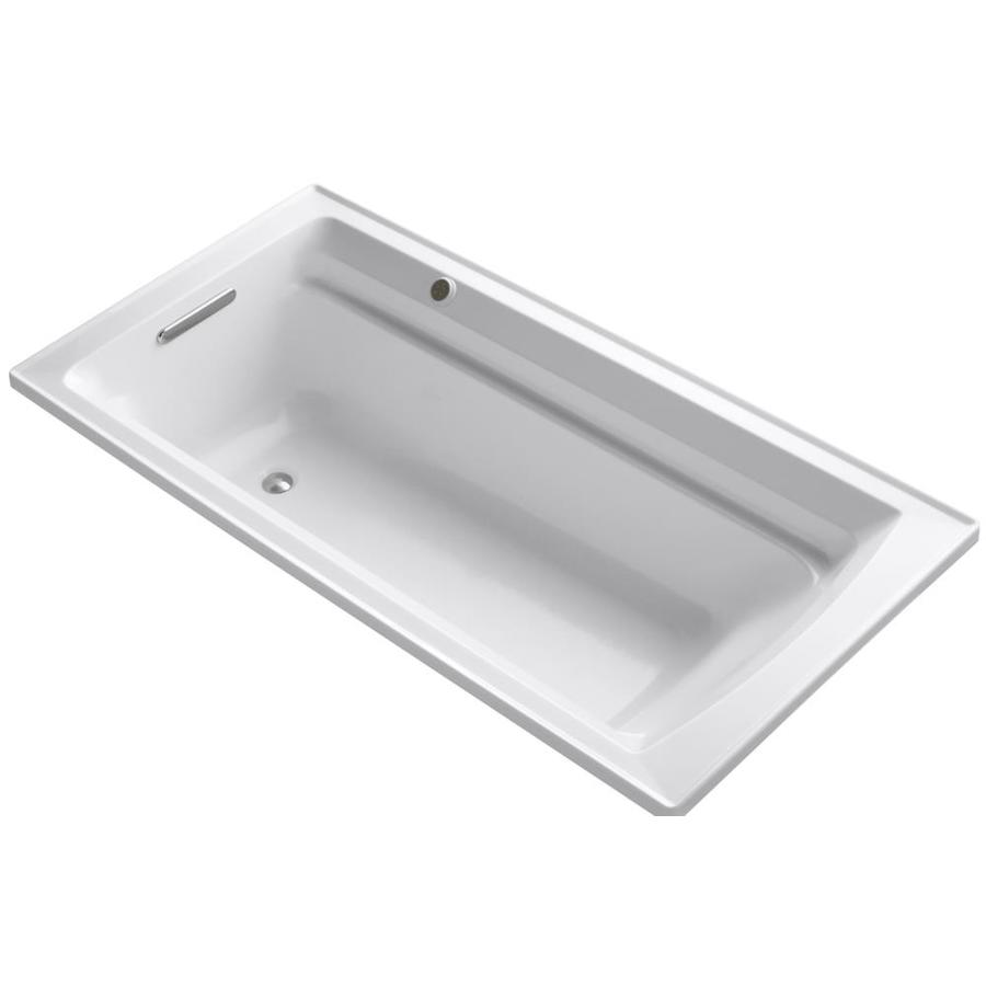 KOHLER Archer White Acrylic Rectangular Drop-in Bathtub with Reversible Drain (Common: 36-in x 72-in; Actual: 20.5-in x 36-in x 72-in)
