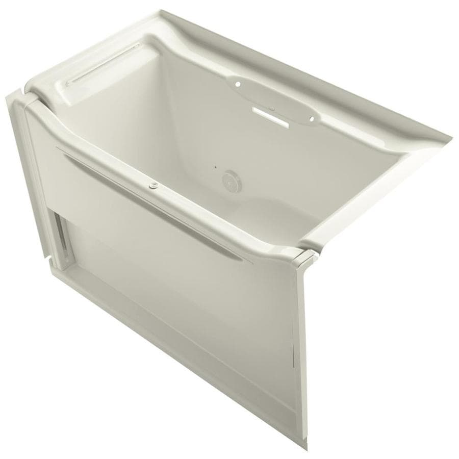 KOHLER Elevance Biscuit Acrylic Rectangular Alcove Bathtub with Left-Hand Drain (Common: 34-in x 61-in; Actual: 39.25-in x 33.5-in x 60.25-in)