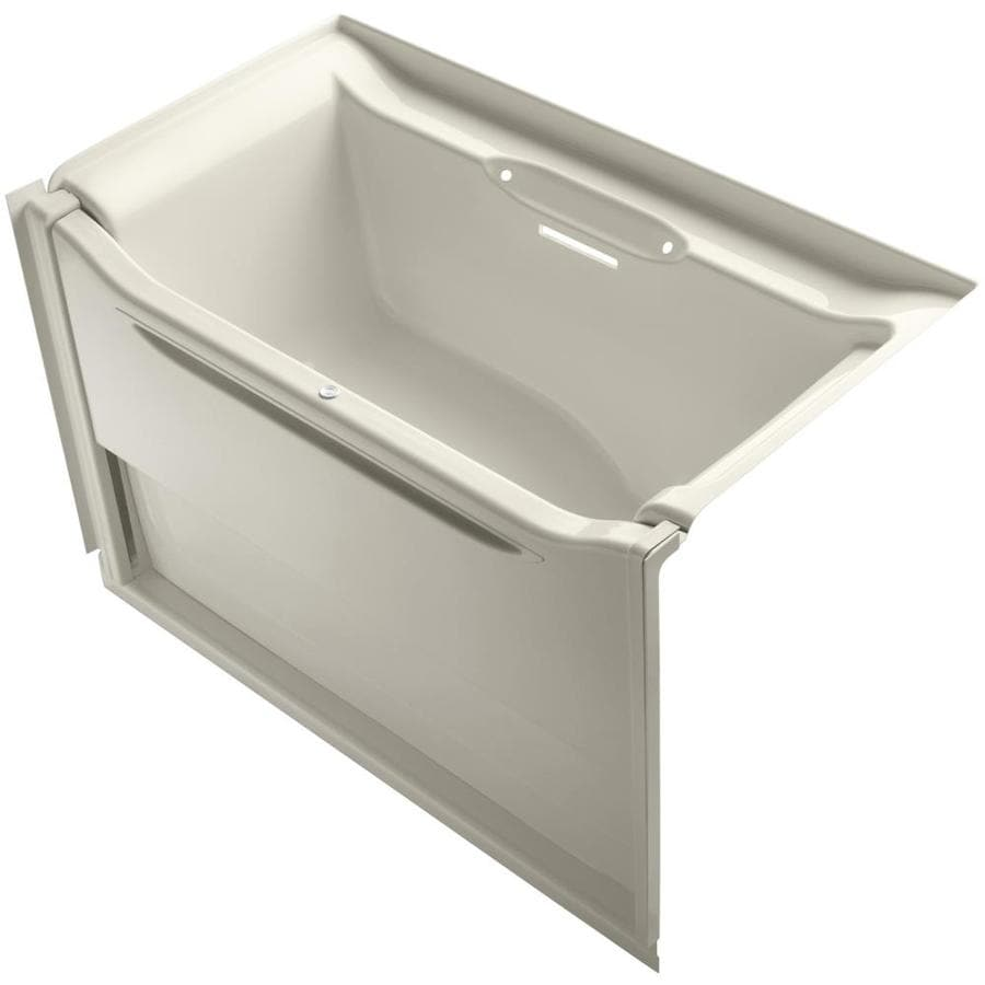 KOHLER Elevance Almond Acrylic Rectangular Alcove Bathtub with Right-Hand Drain (Common: 34-in x 61-in; Actual: 39.25-in x 33.5-in x 60.25-in)