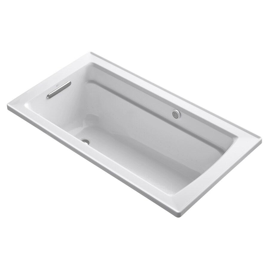 KOHLER Archer 60-in L x 32-in W x 20.25-in H White Acrylic Rectangular Alcove Air Bath