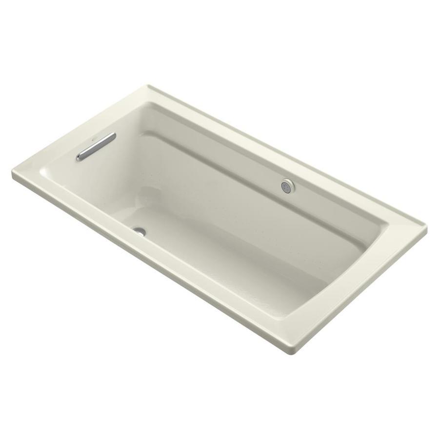 KOHLER Archer 60-in L x 32-in W x 20.25-in H Biscuit Acrylic Rectangular Alcove Air Bath