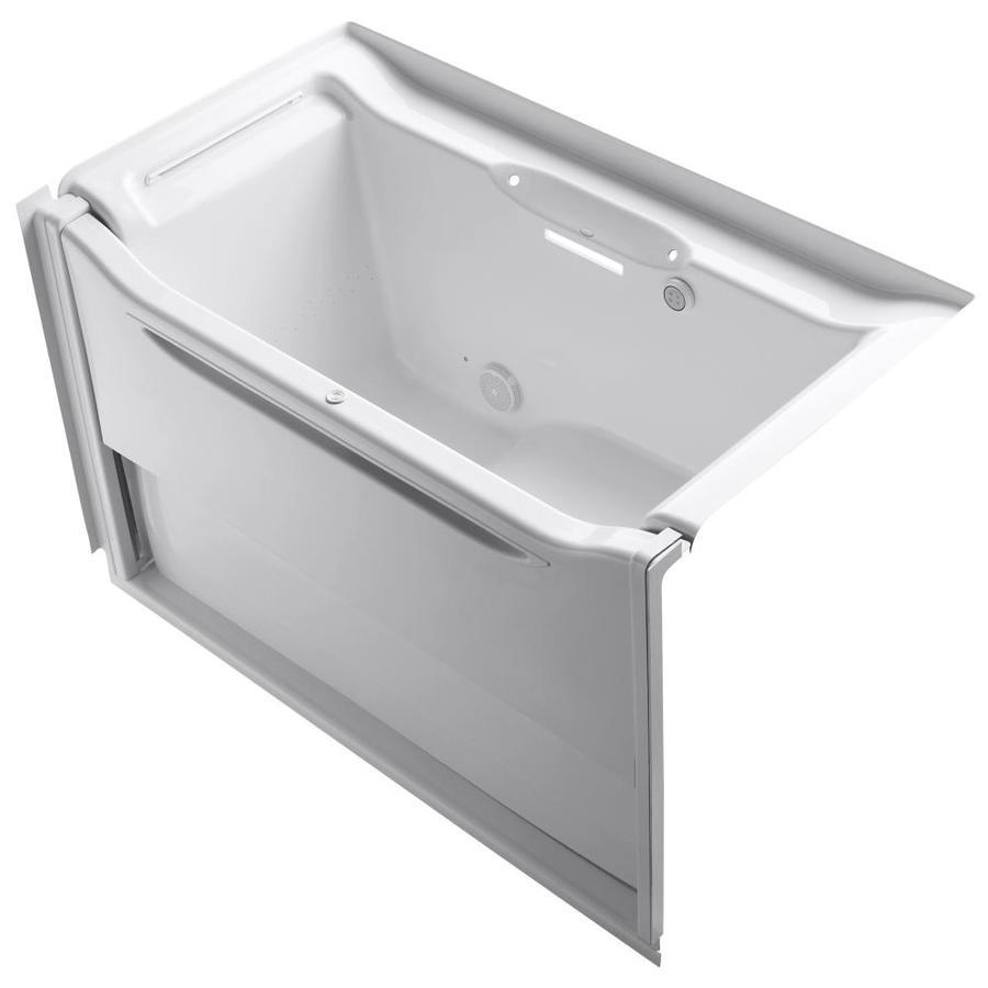 KOHLER Elevance 60.25-in L x 33.5-in W x 39.25-in H White Acrylic Rectangular Alcove Air Bath