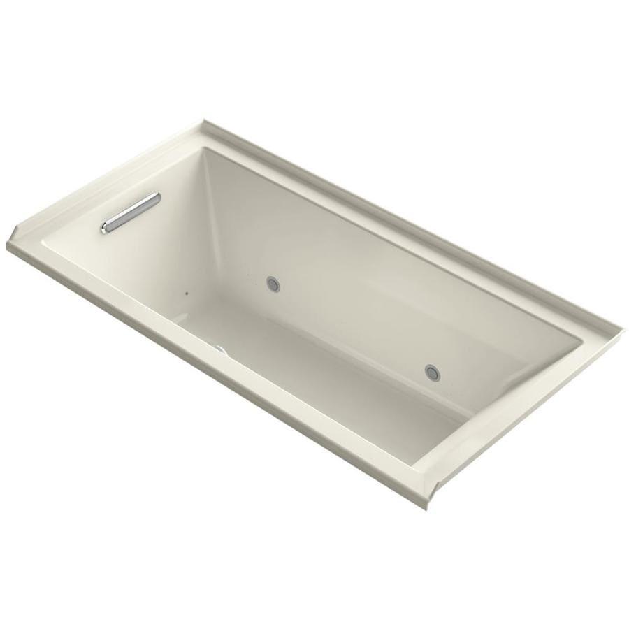 KOHLER Underscore 60-in L x 30-in W x 20.25-in H Almond Acrylic Rectangular Alcove Air Bath