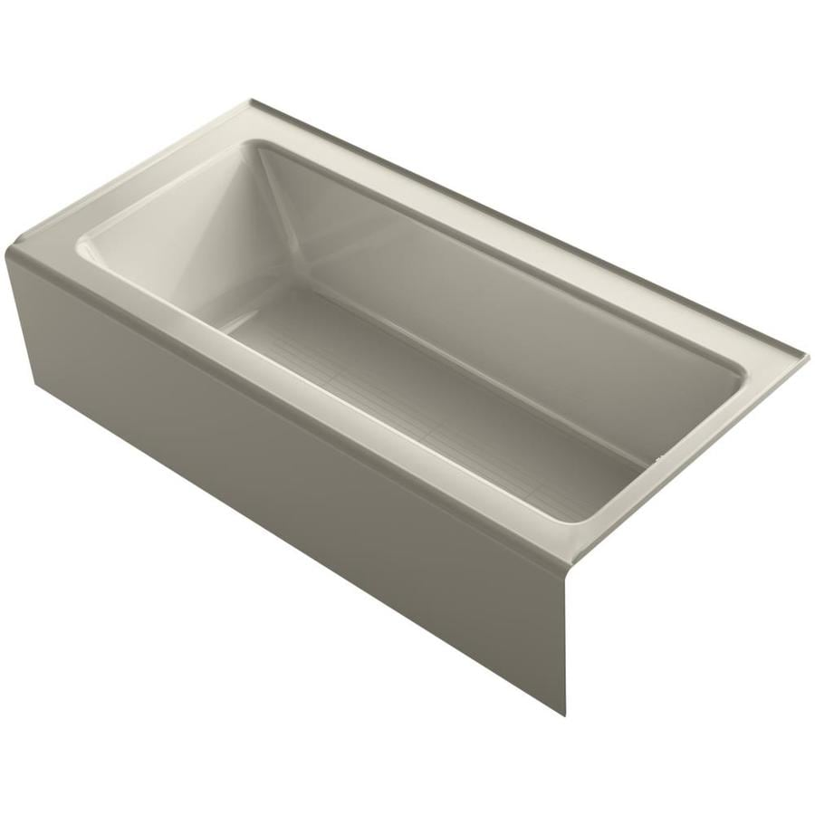 KOHLER Bellwether Sandbar Acrylic Rectangular Alcove Bathtub with Reversible Drain (Common: 32-in x 66-in; Actual: 17-in x 32-in x 66-in)