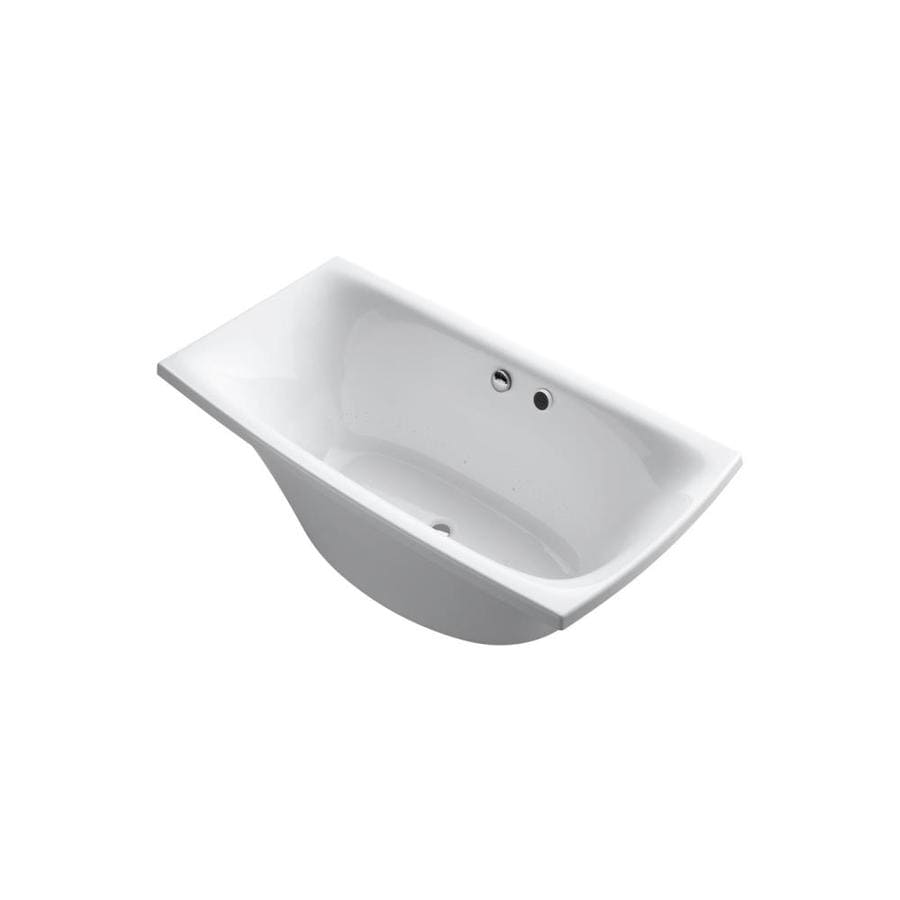 KOHLER Escale 72-in L x 30-in W x 24.125-in H White Acrylic Rectangular Freestanding Air Bath