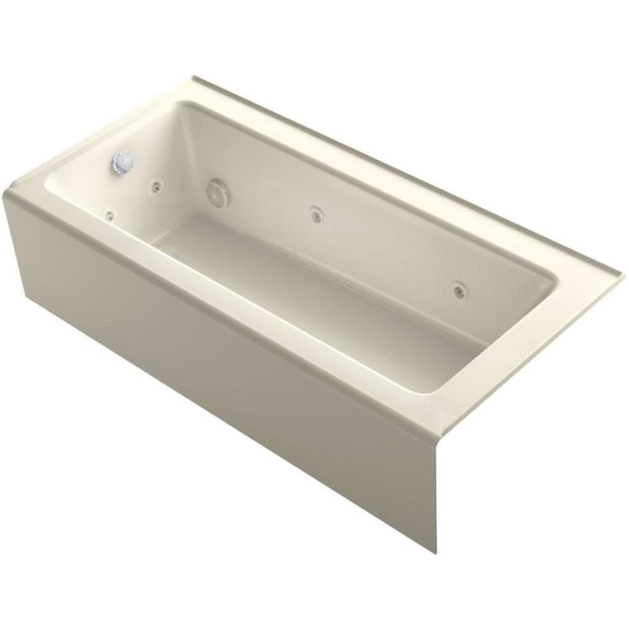 KOHLER Archer Almond Acrylic Rectangular Alcove Whirlpool Tub (Common: 32-in x 66-in; Actual: 16.5-in x 32-in x 66-in)