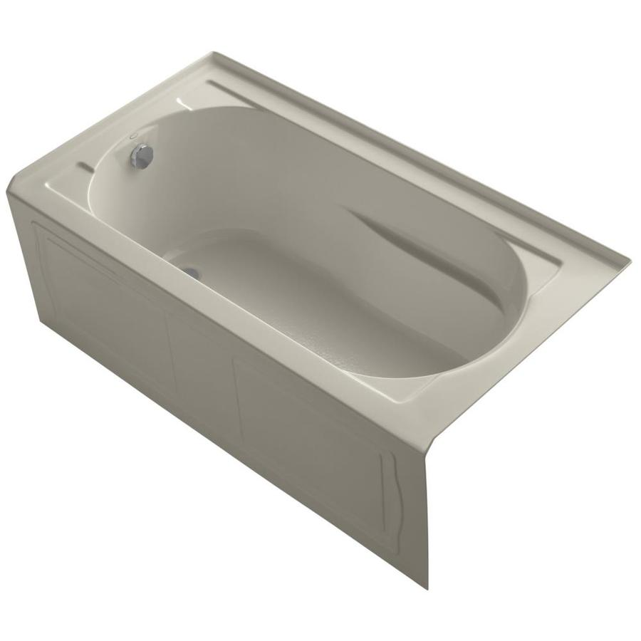 KOHLER Devonshire Sandbar Acrylic Oval In Rectangle Skirted Bathtub with Left-Hand Drain (Common: 32-in x 60-in; Actual: 20-in x 32-in x 60-in)