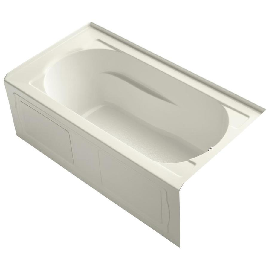 KOHLER Devonshire Biscuit Acrylic Oval In Rectangle Skirted Bathtub with Right-Hand Drain (Common: 32-in x 60-in; Actual: 20-in x 32-in x 60-in)
