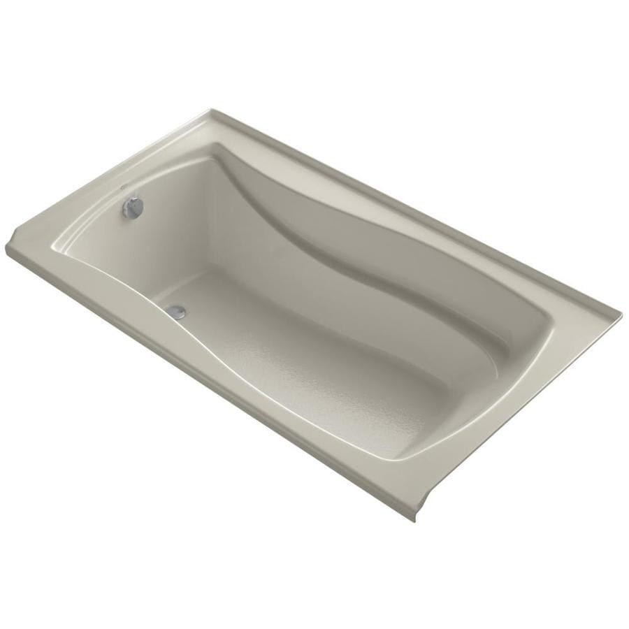 KOHLER Mariposa Sandbar Acrylic Rectangular Alcove Bathtub with Left-Hand Drain (Common: 36-in x 66-in; Actual: 21.25-in x 35.875-in x 66-in)