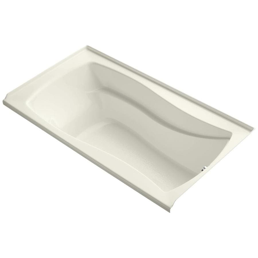KOHLER Mariposa Biscuit Acrylic Rectangular Alcove Bathtub with Right-Hand Drain (Common: 36-in x 66-in; Actual: 21.25-in x 35.875-in x 66-in)