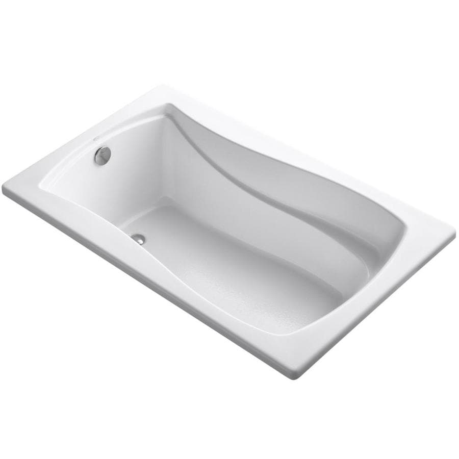 KOHLER Mariposa White Acrylic Hourglass In Rectangle Drop-in Bathtub with Reversible Drain (Common: 36-in x 60-in; Actual: 20-in x 36-in x 60-in)