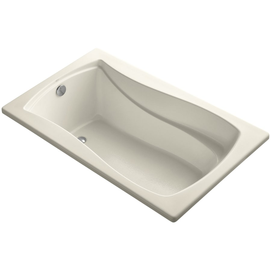 KOHLER Mariposa Almond Acrylic Hourglass In Rectangle Drop-in Bathtub with Reversible Drain (Common: 36-in x 60-in; Actual: 20-in x 36-in x 60-in)