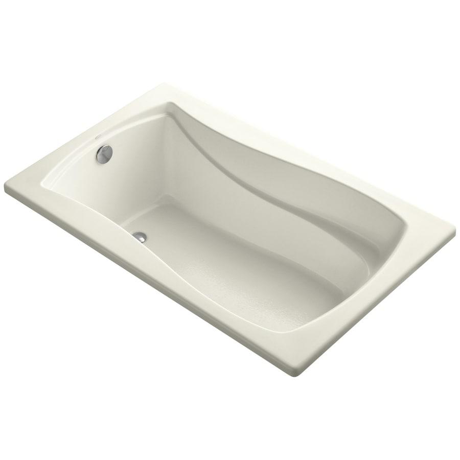 KOHLER Mariposa Biscuit Acrylic Hourglass In Rectangle Drop-in Bathtub with Reversible Drain (Common: 36-in x 60-in; Actual: 20-in x 36-in x 60-in)