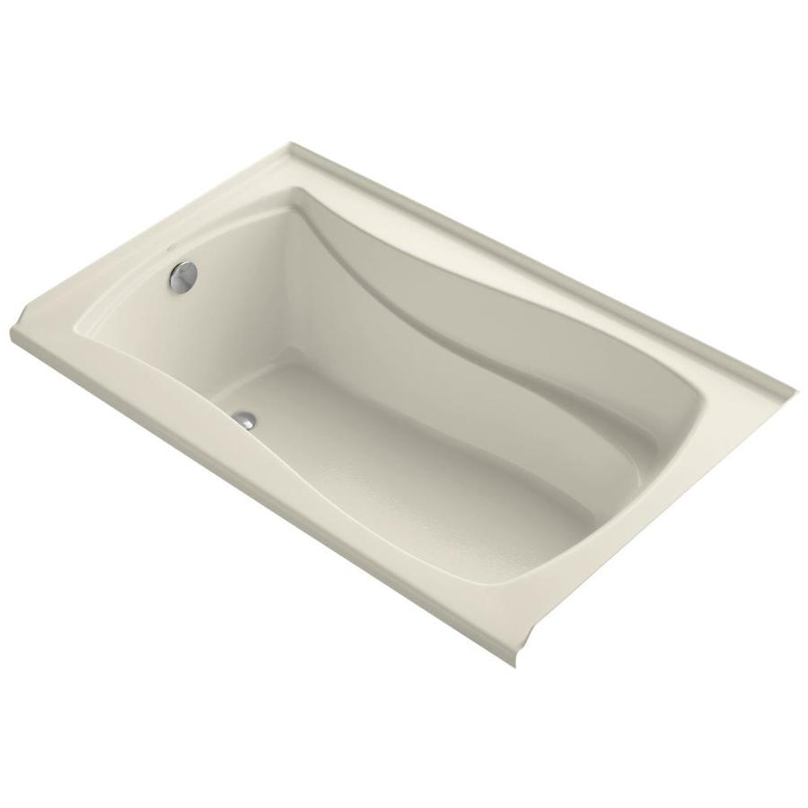 KOHLER Mariposa Almond Acrylic Hourglass In Rectangle Alcove Bathtub with Left-Hand Drain (Common: 36-in x 60-in; Actual: 21.25-in x 36-in x 60-in)