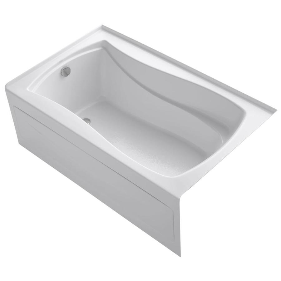 KOHLER Mariposa White Acrylic Hourglass In Rectangle Alcove Bathtub with Left-Hand Drain (Common: 36-in x 60-in; Actual: 21.25-in x 36-in x 60-in)