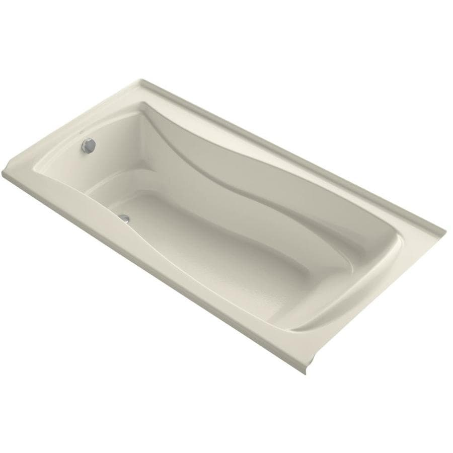 KOHLER Mariposa Almond Acrylic Hourglass In Rectangle Alcove Bathtub with Left-Hand Drain (Common: 36-in x 72-in; Actual: 21.25-in x 36-in x 72-in)