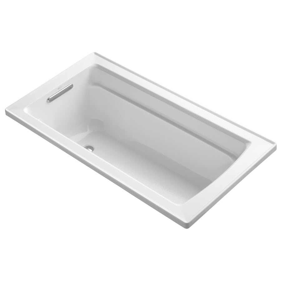 KOHLER Archer White Acrylic Rectangular Drop-in Bathtub with Reversible Drain (Common: 32-in x 60-in; Actual: 19-in x 32-in x 60-in)